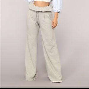 Fashion Nova Sabrina Paper Bag Wide Vibe Pants L